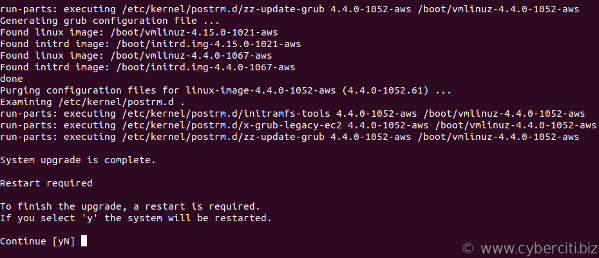 Ubuntu system upgrade is complete. Restart required for aws lightsail