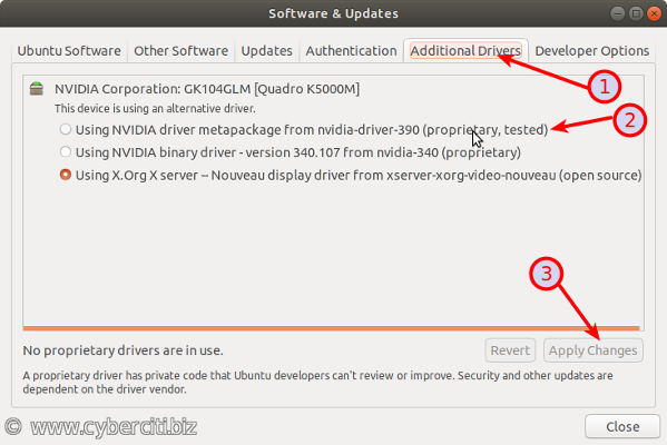 Ubuntu Linux Install Nvidia Driver using Sofware Manager GUI tool