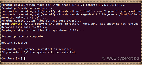 Ubuntu Linux system reboot required to finish updates