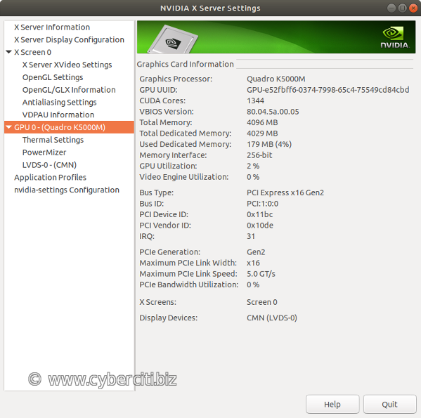 Ubuntu nvidia-settings tool to configure NVIDIA graphics driver