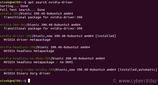 apt-get search for Nvidia driver package