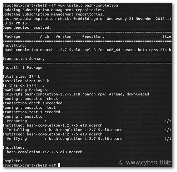 Bash auto completion in RHEL 8 [Red Hat Enterprise Linux]