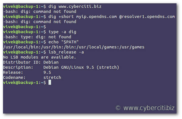 Debian 9 dig command not found - How to install dig on