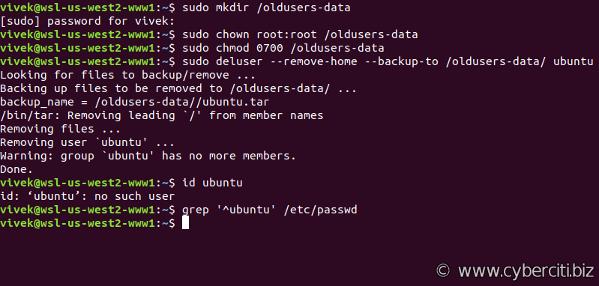 Delete a user account on Ubuntu Linux