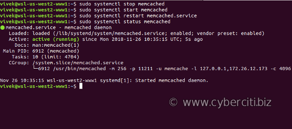 How to start, stop, restart memached on Ubuntu Linux