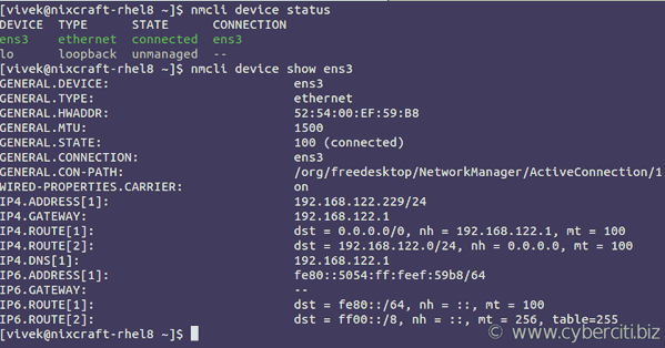 RHEL 8 find out network interface names