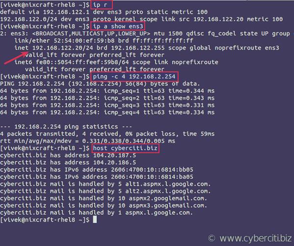 Verify static IP config on RHEL 8