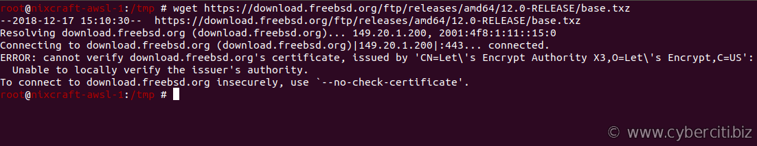 FreeBSD wget cannot verify certificate, issued by Let's