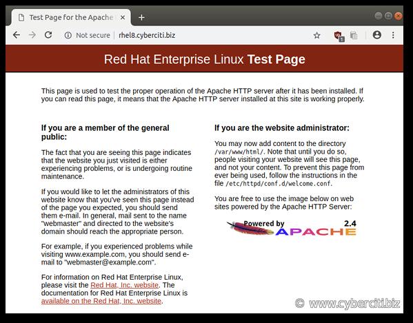 The default RHEL 8 Apache web page