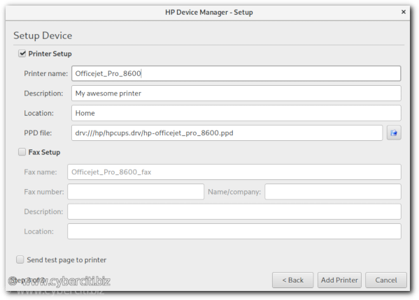 Fedora Linux HP Device Manager