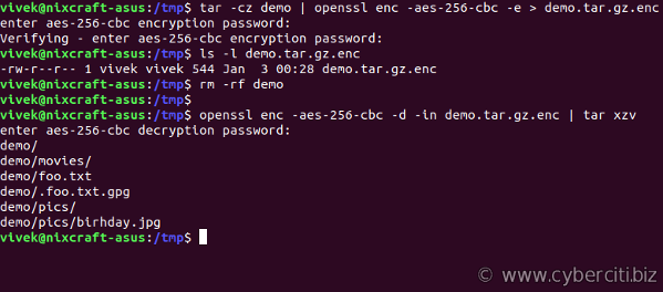 Hide and Compress directories with a password in Linux