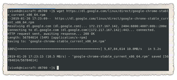 Install Google Chrome 73 on CentOS 7 using yum command