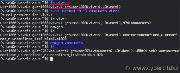 How to add VirtualBox user to vboxusers group on Fedora Linux