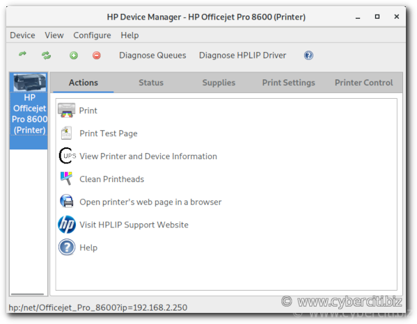 How to control HP printer from GUI on Fedora Linux