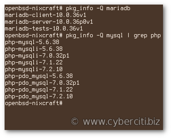 How to search for MariaDB packages on OpenBSD