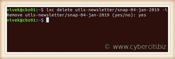 Linux delete the LXD snapshot using lxc command