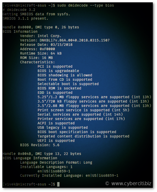Linux find Intel NUC BIOS version command