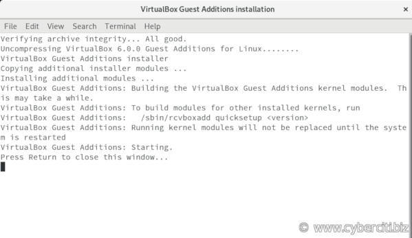 VirtualBox guest additions installation completed