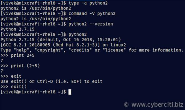 RHEL 8 install Python 3 or Python 2 using yum - nixCraft