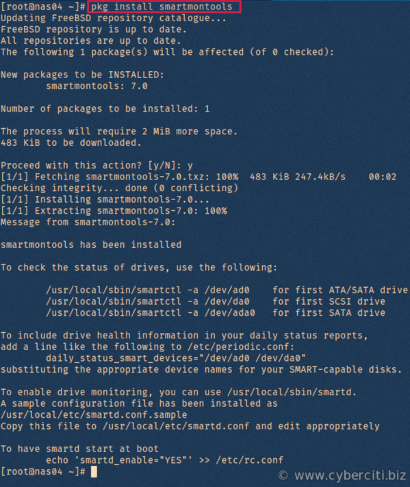 How to install smartmontools on FreeBSD to check hard disks