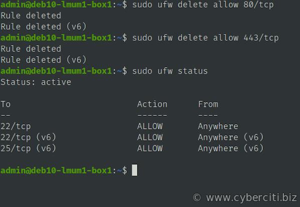 Deleting a UFW Firewall Rule