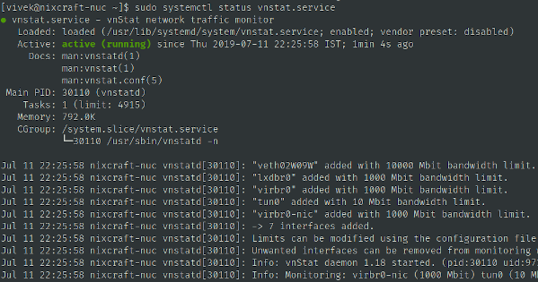 See vnstat service status on Fedora Linux
