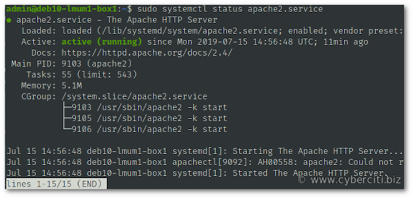 Start restart Apache 2 on Debian 10