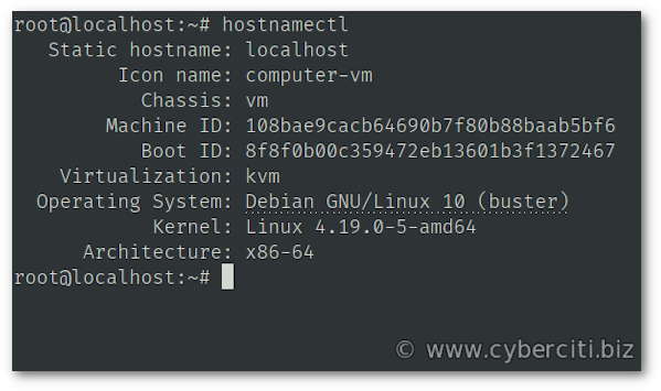 View the current hostname for Debian Linux 10