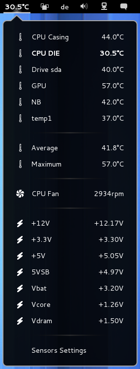 Shows CPU temperature, HDD temperature, voltage and fan RPM