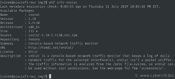 vnstat console-based network traffic monitor for Fedora Linux