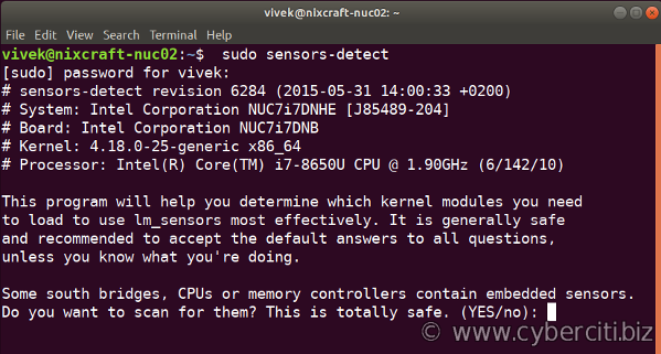 Ubuntu Linux detect hardware monitoring chips