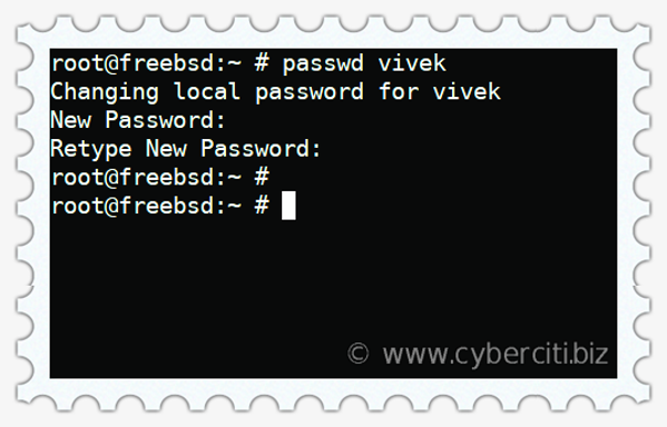Change or set password for users on FreeBSD