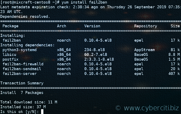 Install Fail2ban on CentOS 8