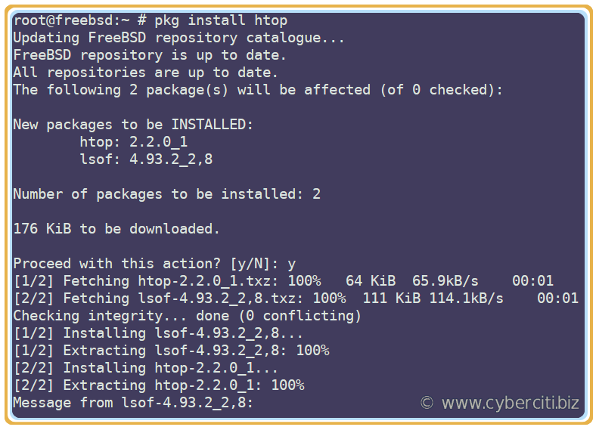 Install htop on FreeBSD using pkg command