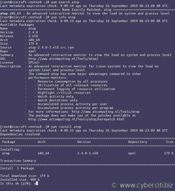 Installing atop package on a CentOS 8 using epel repo yum command