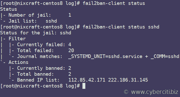 Protect SSH With Fail2Ban on CentOS 8 Linux server