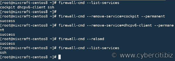 Remove services dhcpv6-client and cockpit on CentOS 8