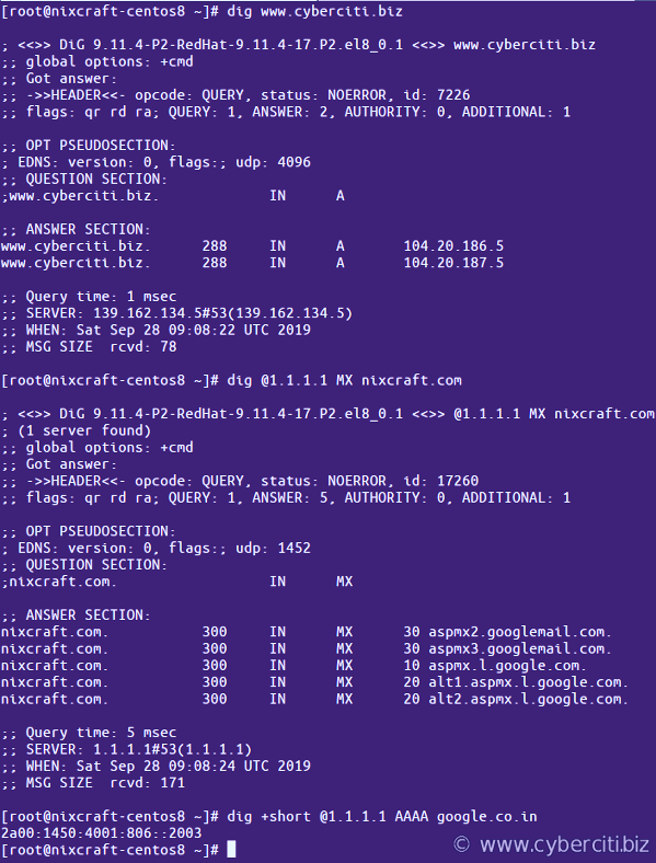 dig command installed on a CentOS 8 Linux and displaying dns output of a query