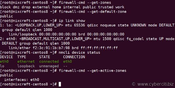 firewall-cmd --get-active-zones