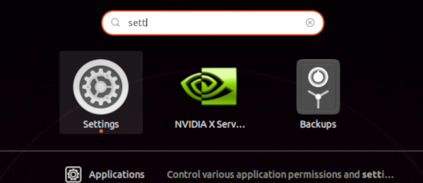 Activities overview to start Setting in Ubuntu Linux