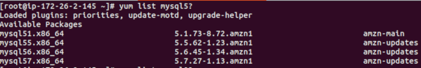 Amazon Linux AMI yum search mysql package