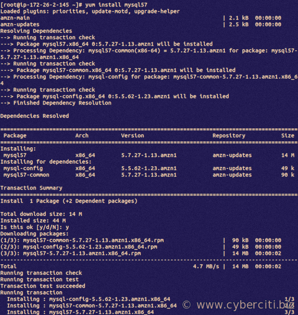 Amazon Linux install mysql client using yum command