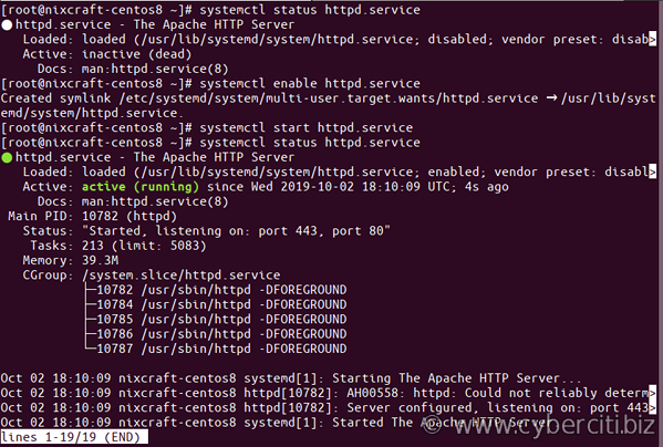 CentOS 8 enable and start httpd.service command