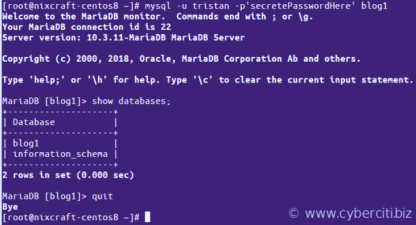 How to connect to the MariaDB CentOS server using user account