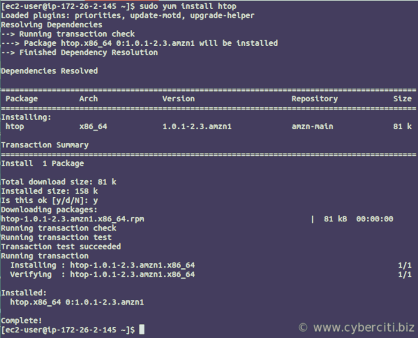 Install htop on Amazon Linux AMI using yum command