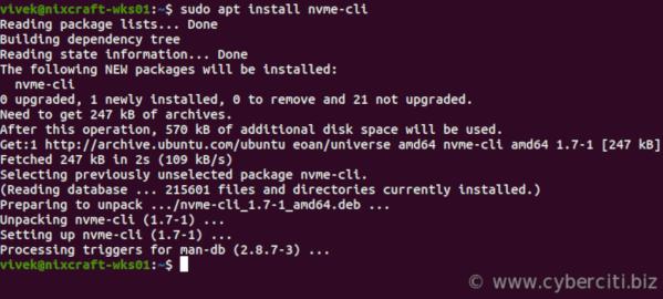 Install nvme-cli on Ubuntu or Debian Linux