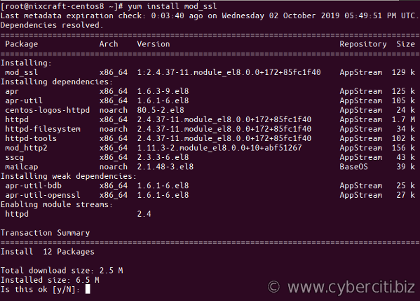 Installing mod_ssl on CentOS 8 Linux