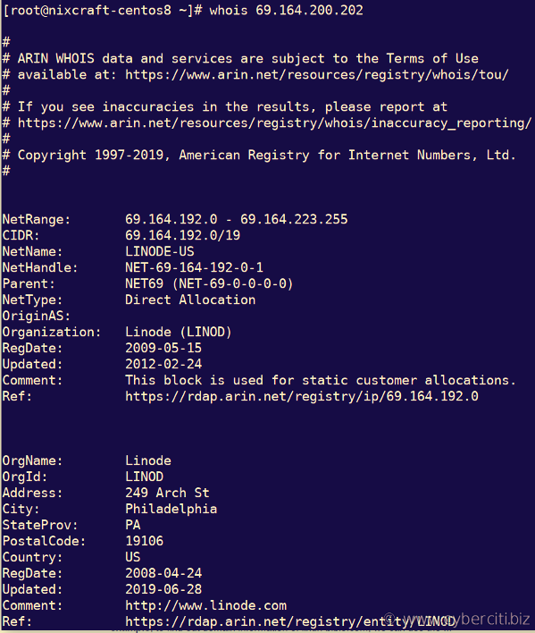 RHEL or CentOS 8 install whois and use it to query IP address