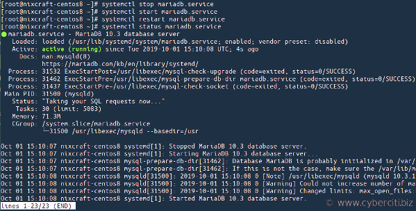Start the MariaDB service with the systemct on CentOS 8