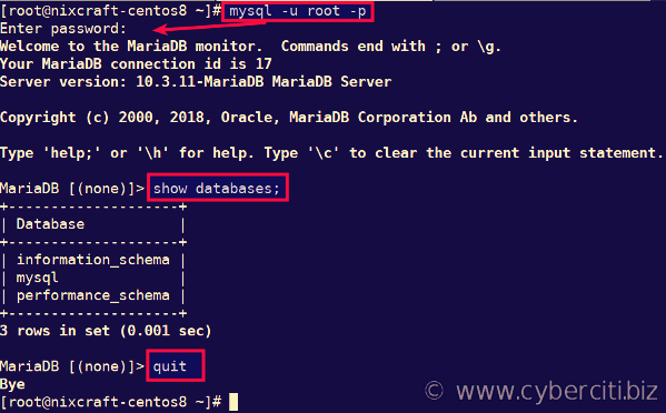Testing the MariaDB server installation on CentOS Linux 8